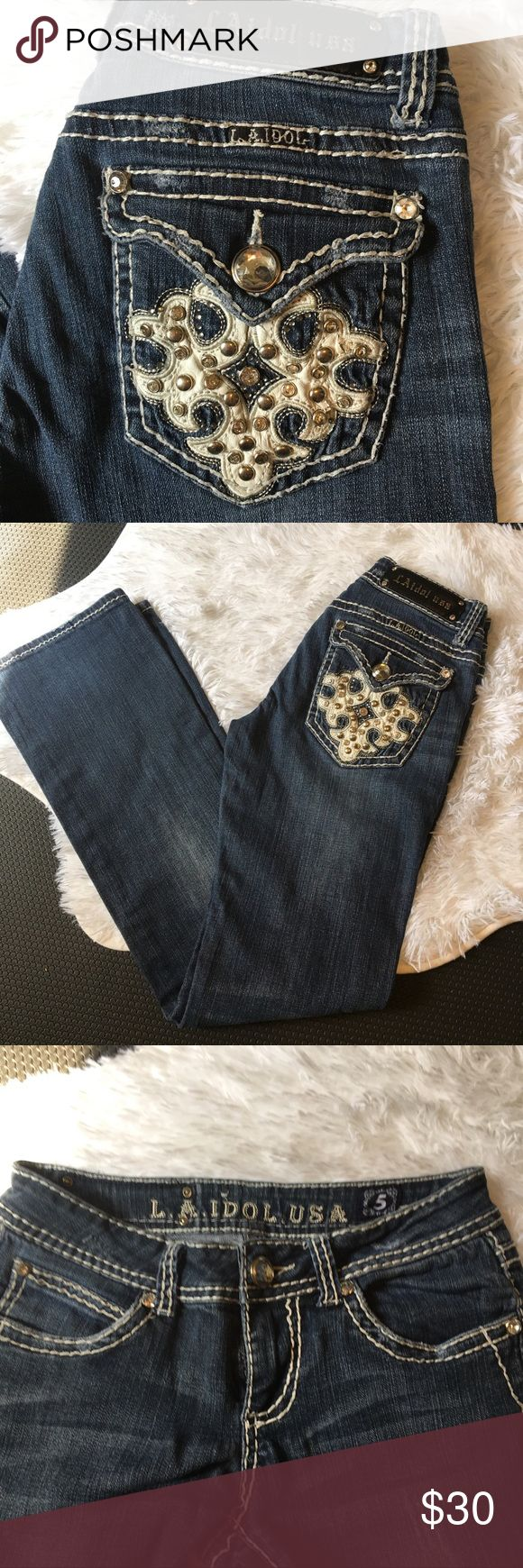 """⭐️LA Idols Jeans⭐️ 🌟Nice pocket design and fit! Like """"Miss Me"""" brand. I always got compliments wearing these on the bike! In great condition 👍 LA Idol Jeans Boot Cut"""