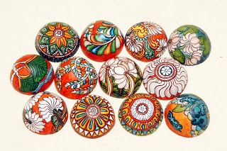 bhavm arts - paper weights painted in the kerala mural style
