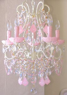 Pink Chandelier $699 http://www.mylulabelles.com/catalog.php?item=776&catid=25&ret=catalog.php%3Fcategory%3D25 #pink #lighting #chandelier