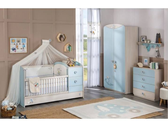 Babyzimmer Komplett Set Blau Kinderzimmer Junge Inkl Babybett