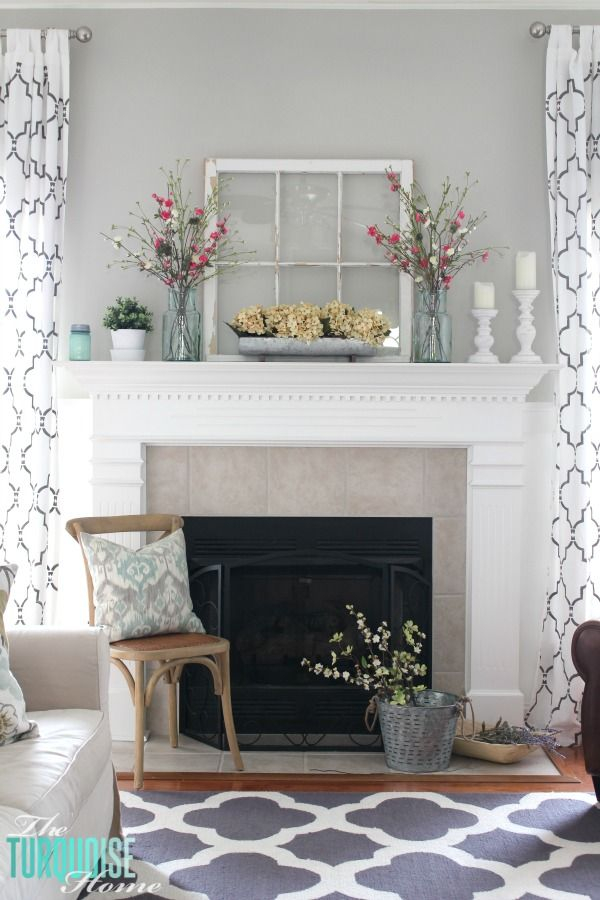 pinterest home decor living room%0A Farmhouse Fresh Spring Mantel