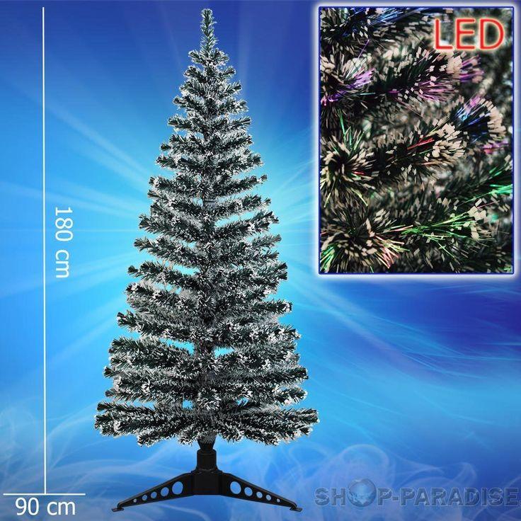 LED Tannenbaum künstlicher Weihnachtsbaum beleuchtet Fiberoptik Glasfaser