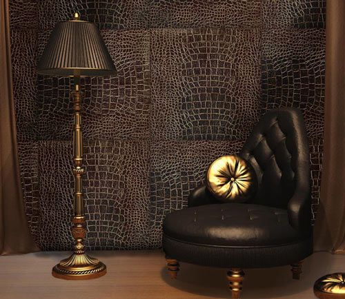 faux leather wall tiles - I think I could DIY this.
