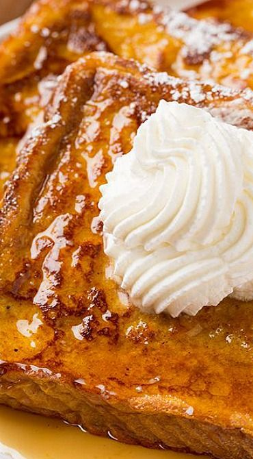 Pumpkin French Toast// 3/4 cup milk 1/2 cup pumpkin puree 4 eggs 2 Tbsp packed light-brown sugar 1 tsp vanilla extract 1 tsp ground cinnamon 1/4 tsp ground nutmeg 1/4 tsp ground ginger 9 slices Texas toast (or other white bread such as Challah or French bread) Butter, for griddle