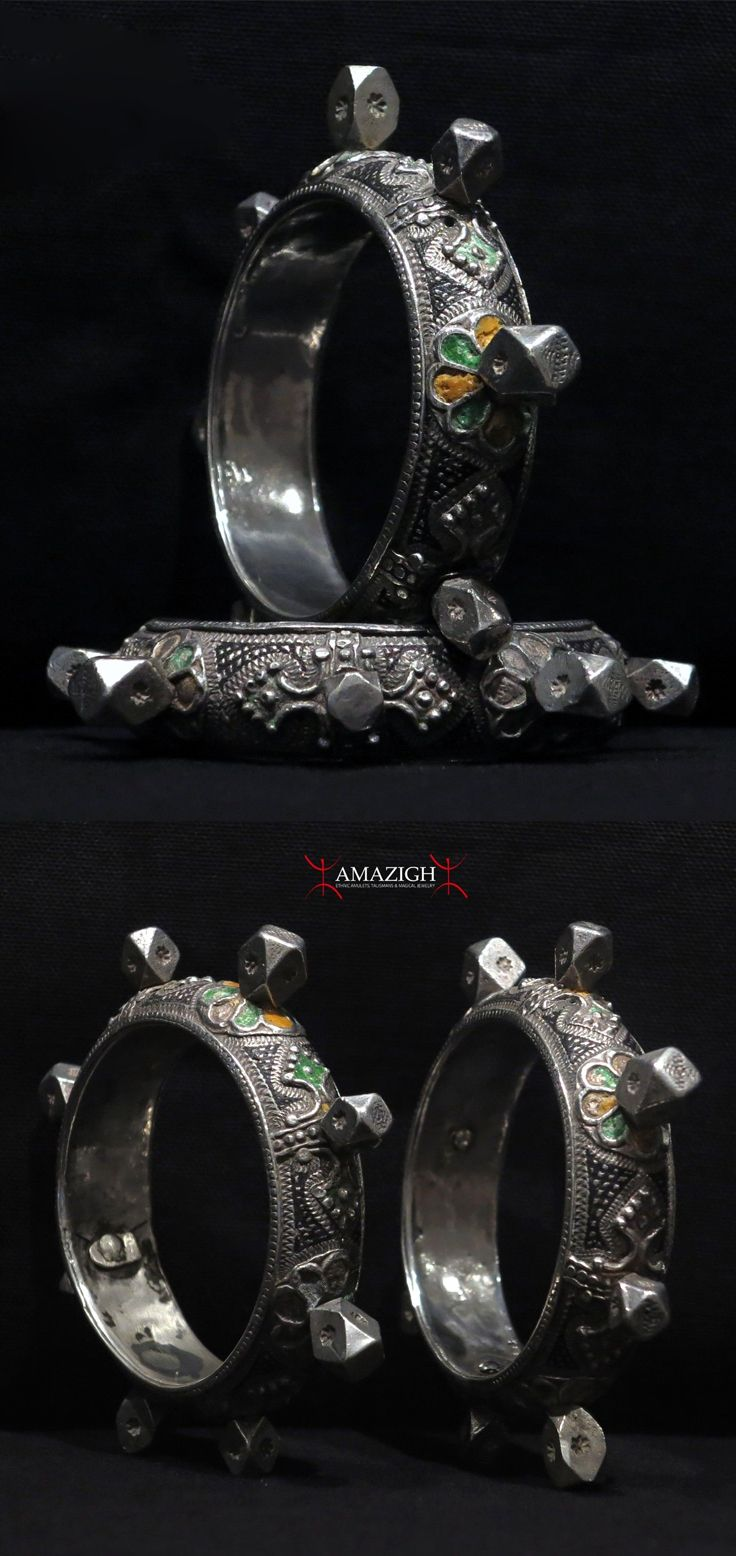 Morocco   Pair Berber Bracelets – ADELBIJ – Western Anti-Atlas Mountains   Silver and enamel   Early to mid 20th century   699$