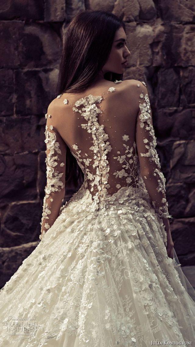 julia kontogruni 2018 bridal long sleeves illuson bateau sweetheart neckline full embellishment romantic princess ball gown a line wedding dress sheer button back royal train (7) zbv