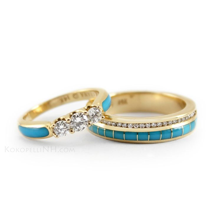 Turquoise, gold and diamonds for a truly Southwestern look. Unique turquoise wedding ring set. #bridaltransformed