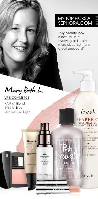 Mary Beth L., VP E-Commerce. My top picks at Sephora.com. #Sephora #SephoraItLists