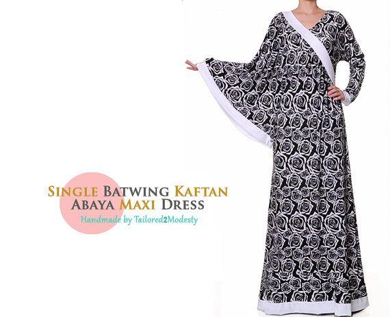 Single Batwing B&W Kaftan Jersey Islamic Abaya by Tailored2Modesty