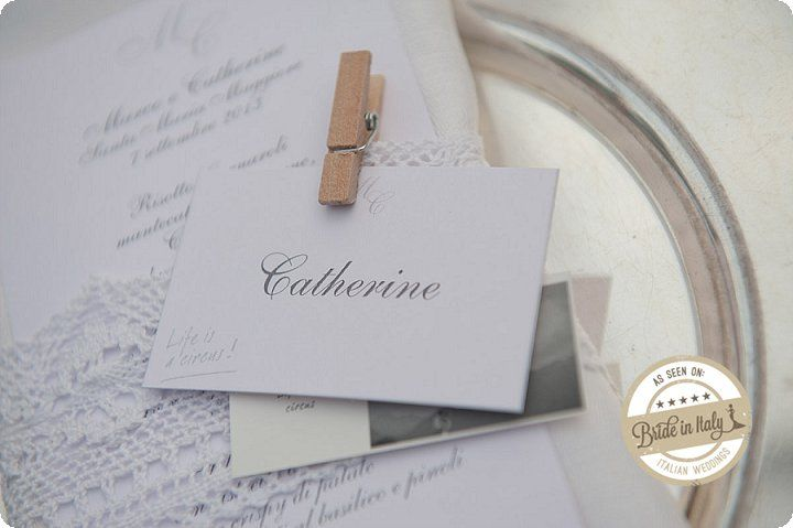 Nice shabby chic placeholder. Very simple and elegant. Ph Michela Magnani http://www.brideinitaly.com/2013/12/magnani-circus.html #circus #whimsical #wedding #italy