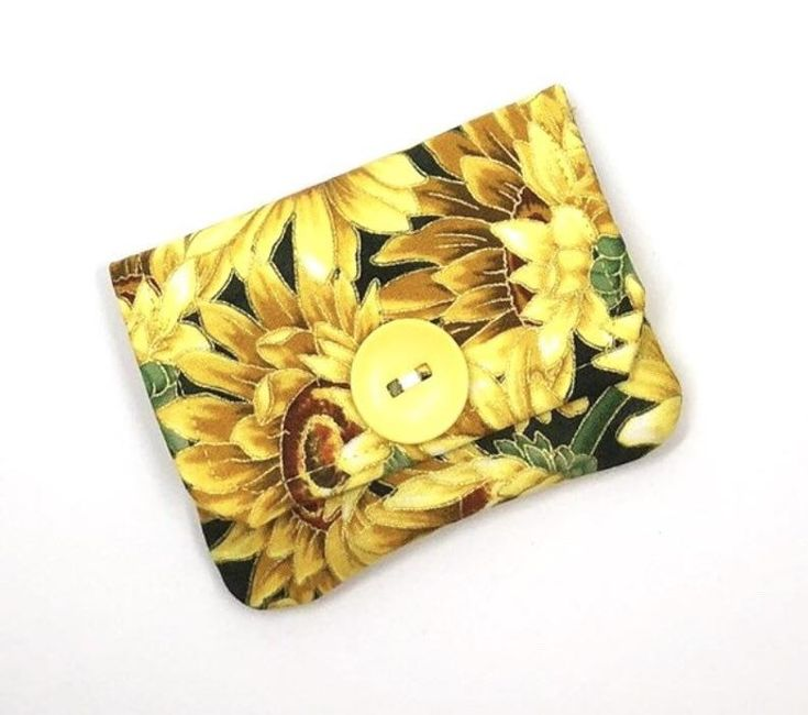Sunflower Fabric Wallet, Credit Card Case, Sunflower Gift, Pocket Wallet