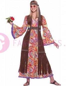 Dit 60s Hippie Love Child Kostuum bestaat uit:  Een lange jurk met gekleurde figuren.  Een lange bruine jas met franjes.  Een bruine haarband.