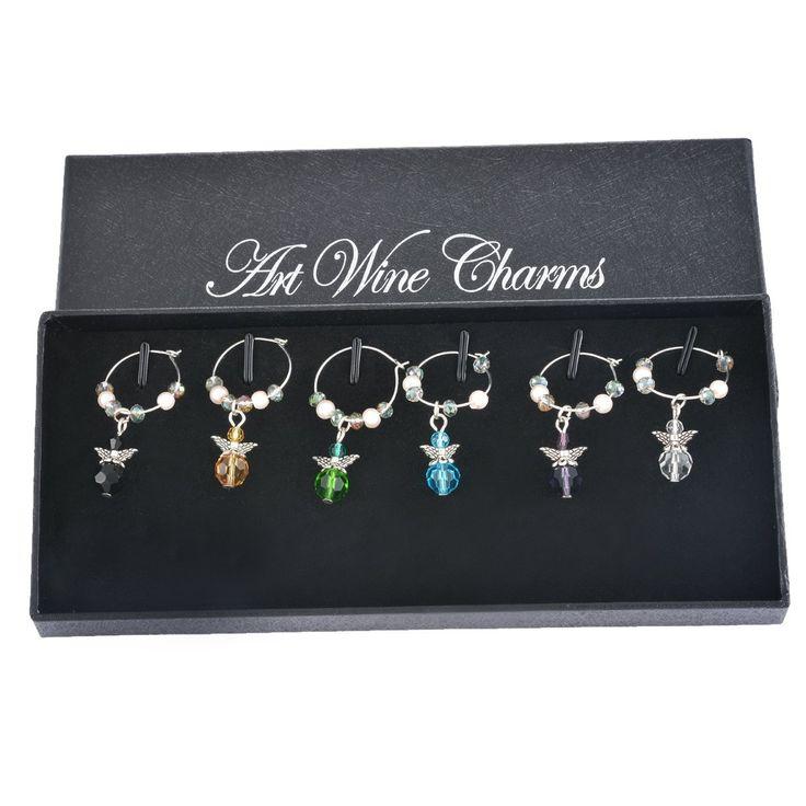 Ángulo de cristal de imitación de Navidad mixto Souarts encantos del vino de cristal Marcadores de etiqueta colgante con caja de 6 piezas: Amazon.es: Hogar