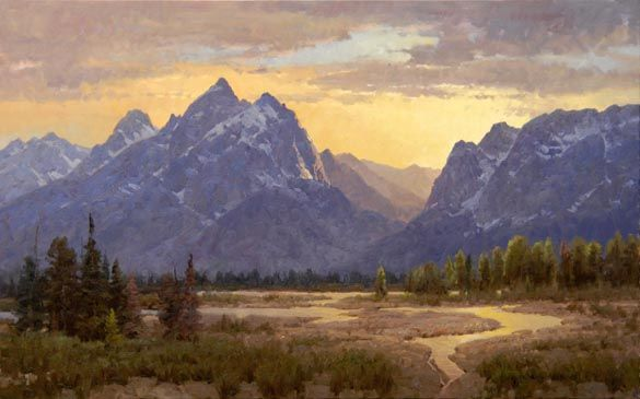 Heavens Ablaze: Landscape art giclee print reproduction on canvas of Grand Teton National Park by landscape artist and painter Jim Wilcox
