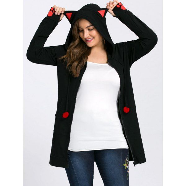 Plus Size Zip Up Hoodie with Ears - Black Xl Mobile