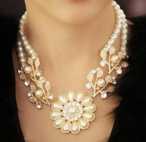 Luxury-beautiful-flower-gems-stone-pearl-all-match-chocker-necklace