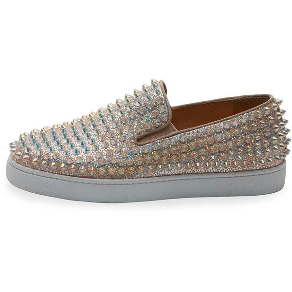 Christian Louboutin Roller Boat Spiked Skate Sneaker ($1,295) ❤ liked on Polyvore featuring shoes, sneakers, clear sneakers, christian louboutin trainers, spiked shoes, spiked sneakers and christian louboutin sneakers