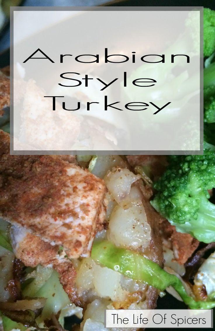 Arabian Style Turkey with Crushed Garlic Potatoes