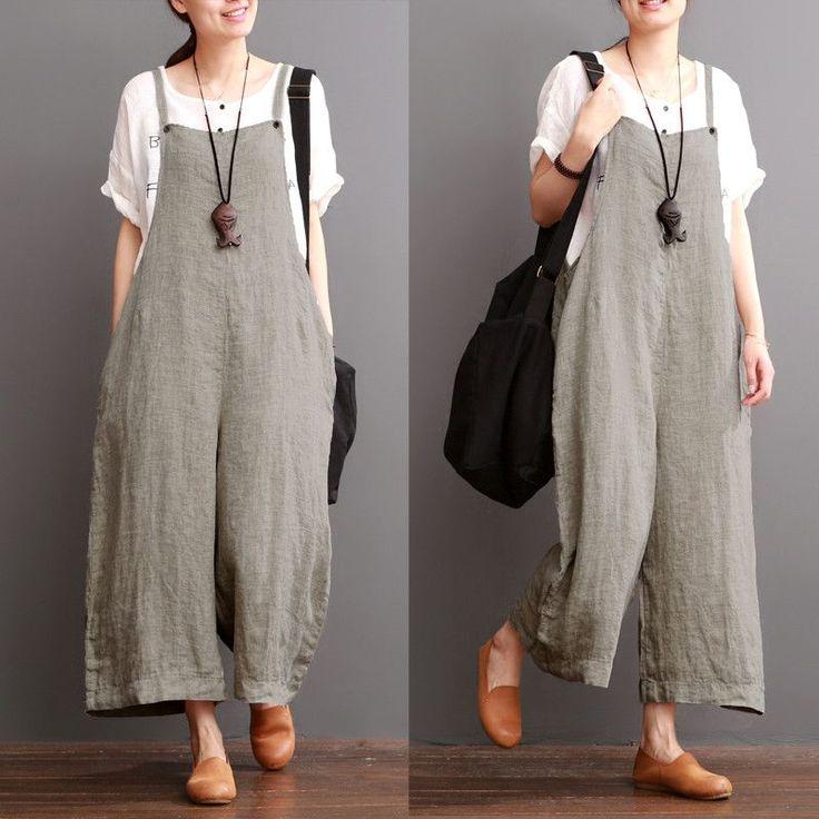 Cotton Linen Sen Department Causel Loose Overalls Big Pocket Trousers – FantasyLinen