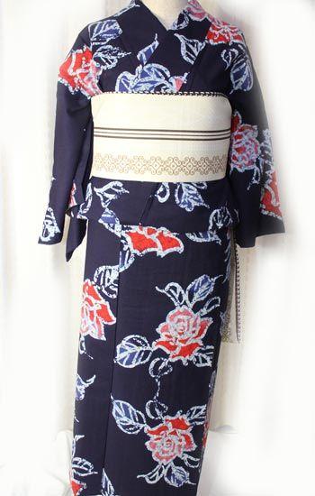 ろうけつ染め薔薇柄浴衣/注染め/ビンテージ - ポップでガーリーな普段着物・ヘッドドレス・古道具・雑貨・アンティークやアーティスト作品の販売 『chiwachiwa ちわちわ』