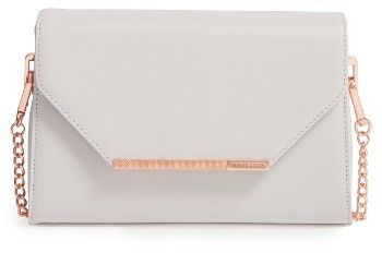 Ted Baker London Faux Leather Crossbody Bag - Grey