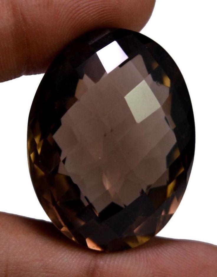 75ct VS Quality Big Natural Oval Cut Smokey Quartz Loose Gemstone For Pendant #krishnagemsnjewels