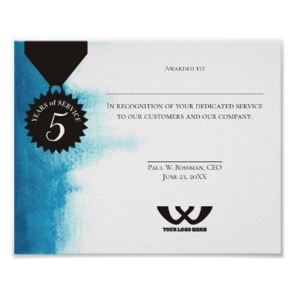 watercolor employee 5 year anniversary certificate poster in 2018
