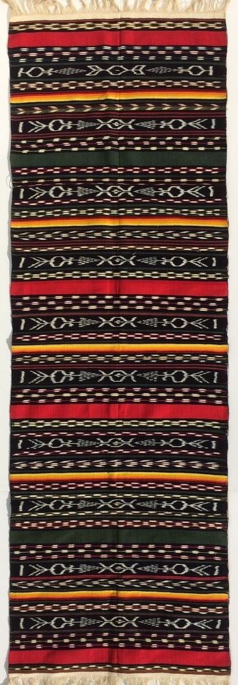 Rug Runner Hand Woven 20.5 by 69  striped black red green white #Southwestern