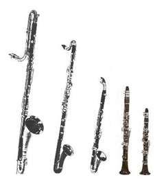 Clarinet family.  From right Eb clarinet, Bb clarinet, alto clarinet, bass clarinet, and contrabass clarinet