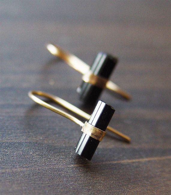 Black Tourmaline Hook Earrings OOAK Gold Filled by friedasophie