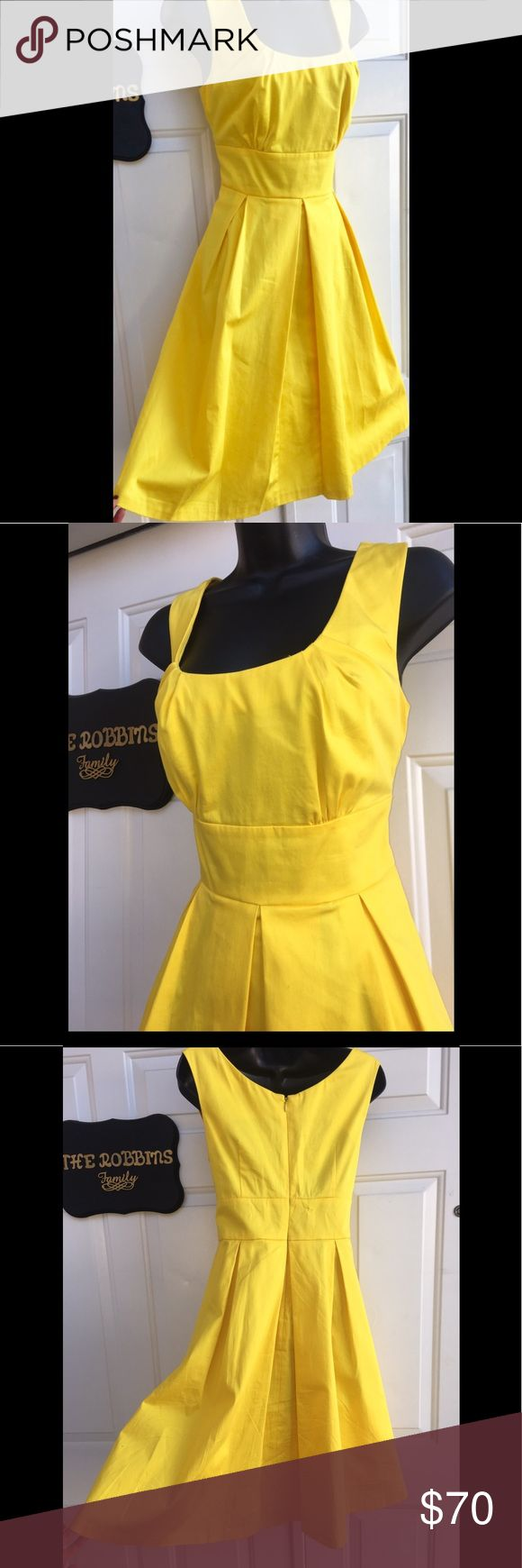 Calvin Klein Yellow Fit n Flare Party Dress 4 Calvin Klein. Yellow Fit and Flare Fully Lined Party Dress. Scoop neck fitted bodice with a full Pleated skirt that poofs out. Fun and Flirty in this adorable bright yellow. Figure flattering. Brand New. Size 4 Calvin Klein Dresses