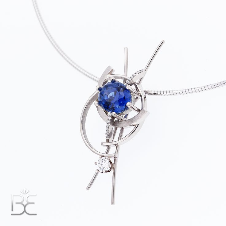 "White gold pendant, stunning ""Royal Blue"" sapphire (8.57 ct!!!) and diamonds. Contemporary dutch design. Handmade by Sabine Eekels"