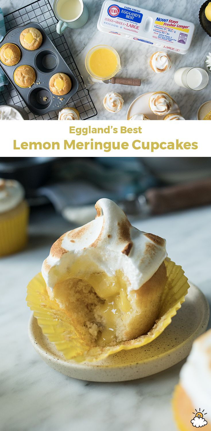 These #lemonmeringue #cupcakes are a clever take on the classic #pie #recipe and ready in just 45 minutes with help from Eggland's Best #eggs. From the #lemon filling to the #meringue topping, there's not a part of Eggland's Best nutritional egg that goes to waste.