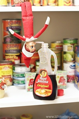 Anyone who's seen the movie Elf knows their favorite food/drink is syrup! This one found a way to look adorable while availing himself of some top shelf Aunt Jemima.