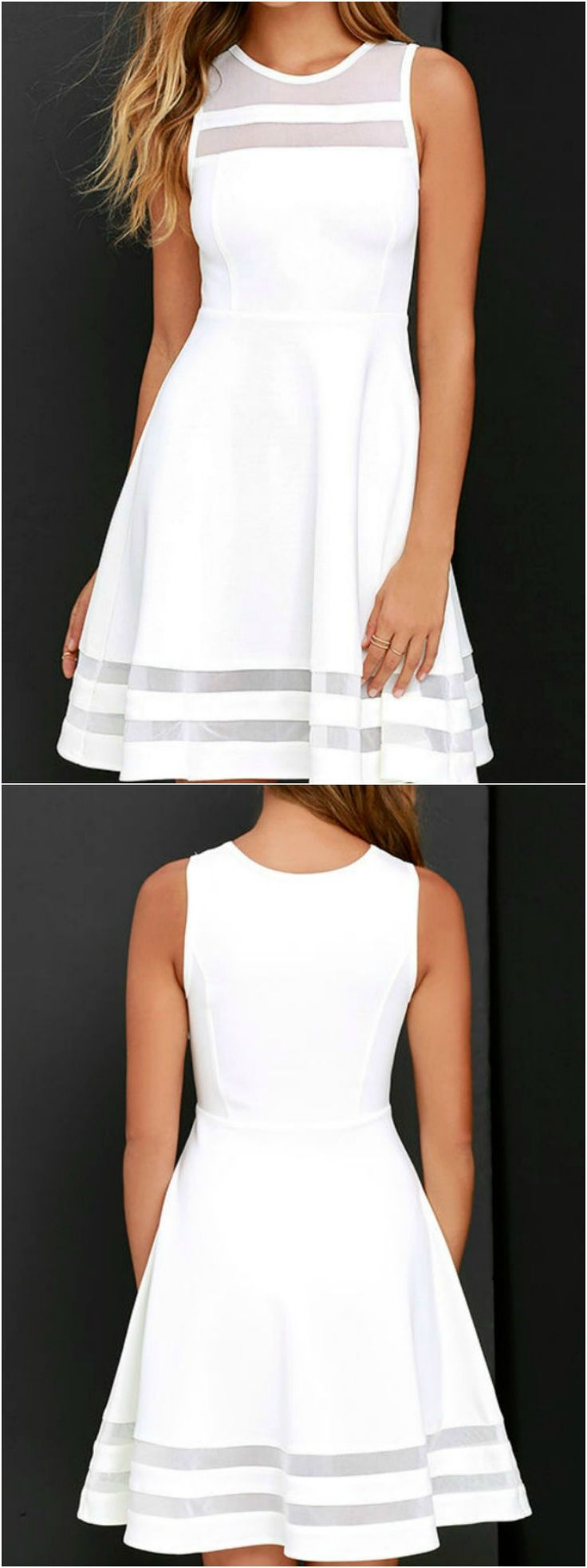 White Dress:You're bound to make a great first impression in this dress! The classy, feminine style will do the talking!  Short White Dress| Graduation Dress| Summer Dresses |Bridal Shower Dress TheChicFind.com