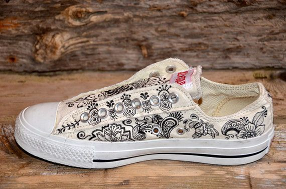 Paisley/Floral Designs on Natural Converse All Stars