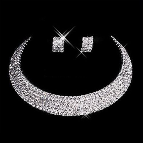 Silver Wedding Jewelry Sets 5 Rows Clear Rhinestone Diamante Wedding Choker Necklace and Earrings