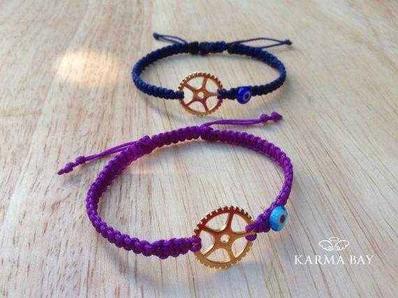 Cogwheel Macrame Bracelet by KarmaBay on Etsy #KarmaBay #Fashion #Accessories #Jewellery