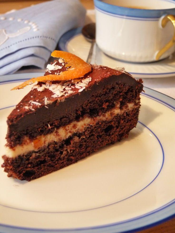 Light Chocolate Cake with Orange Cream. Find the recipe here: http://awaytoawomansheart.blogspot.no/2012/03/cake-challenge.html