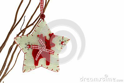 Cute felt reindeer Christmas decoration isolated on white