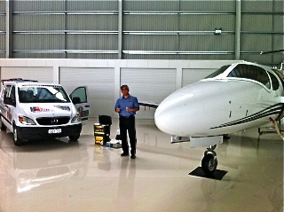 One of our WA Doctors working on a Lear Jet in Perth
