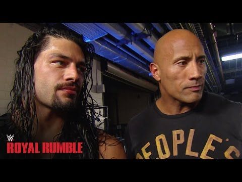 Roman Reigns celebrates with The Rock after winning the Royal Rumble Match - WWE Network - YouTube