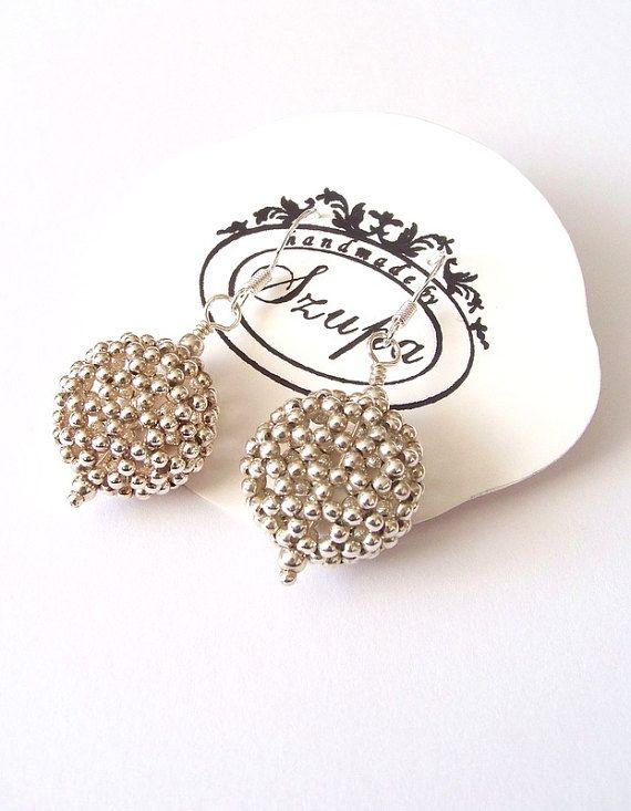 Handmade silver earrings dangle earrings woven earrings by Szupa