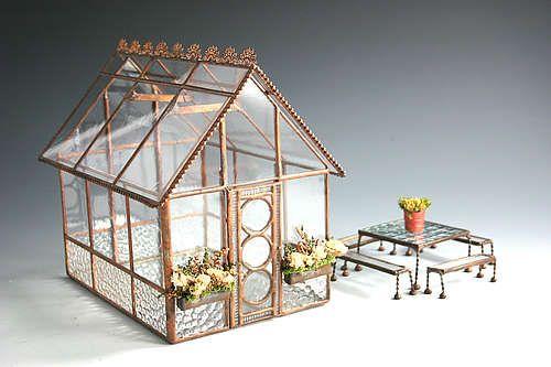 Miniature Glass Greenhouse, so cute but a bit pricey