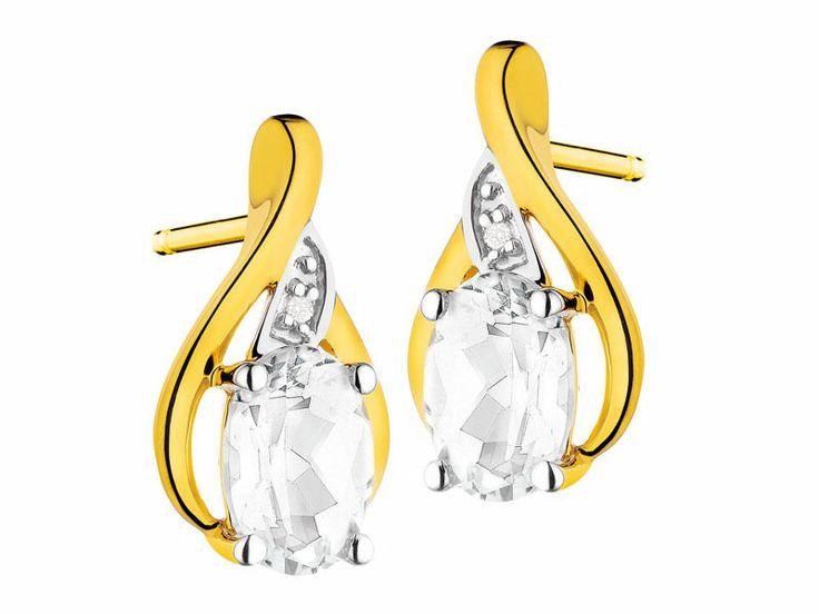 Kolczyki z żółtego złota z diamentami i topazami | Apart