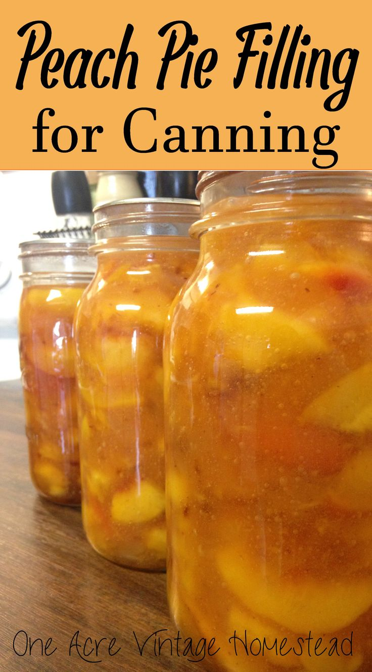 Tasty Peach Pie Filling For Water Bath Canning from One Acre Vintage Homestead #waterbathcanning #peachpie