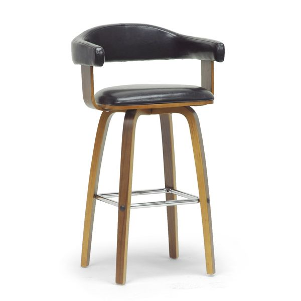 Baxton Studio Quigley Walnut and Black Modern Counter Stool - Overstock™ Shopping - Great Deals on Baxton Studio Bar Stools