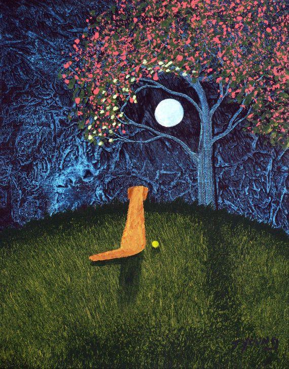 Golden Retriever Dog LARGE Folk Art PRINT Todd Young painting Spring Moon