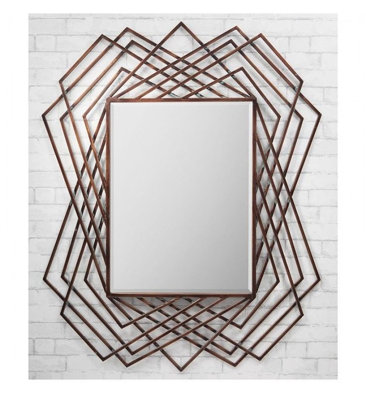 """Specter Large Modern Unique Copper Feature Overmantle Metal Wall Mirror 47""""x37"""""""