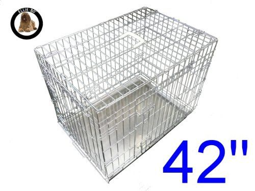Ellie-bo Dog Puppy Cage Folding 2 Door Crate With Non-chew Metal Tray Extra Large 42-inch Silver